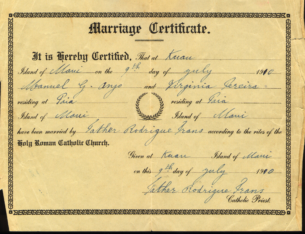 Documents Marriage Certificate Manuel Gomes Anjo And Virginia
